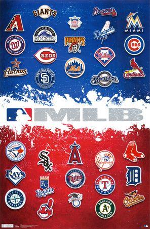 Baseball Team Map : baseball, Major, League, Baseball, Logos, Póster, AllPosters.com.ar., Logos,, Logo,