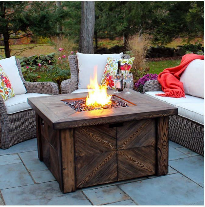 Outdoor Gas Fireplace Patio Fire Pit Table Propane Heater Backyard Deck LP  Cover | Home U0026