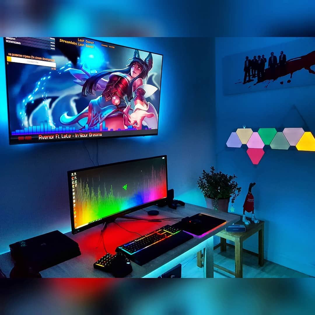 2 614 Curtidas 49 Comentários Setups Gaming Setupsforgaming No Instagram The Lighting Is On Point Video Game Rooms Gaming Desk Setup Gaming Room Setup