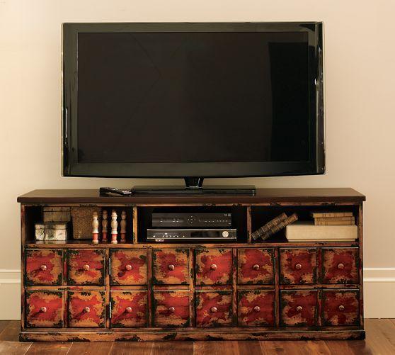 Andover Media Console: Louvered Cabinet Ideas