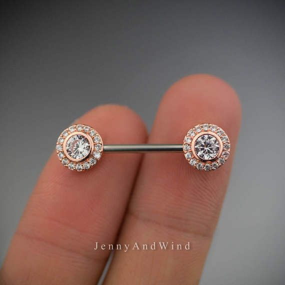 nipple ring 14g nipple jewelry rose gold nipple barbell 1 Jewelry