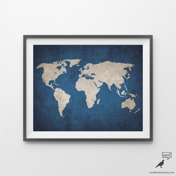 Navy rustic world map print old world map large world map poster navy blue rustic world map print old world map indigo cobalt gumiabroncs Images