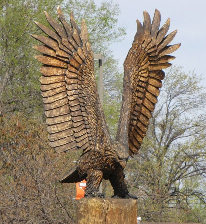 Chainsaw wood carving eagle clayton coss tulsa woodcarvings