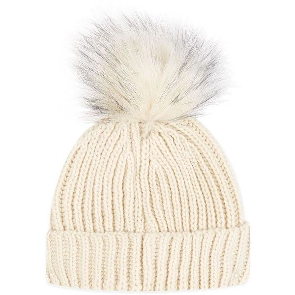 Topshop Tip Pom Beanie Hat ($17) ❤ liked on Polyvore featuring accessories, hats, cream beanie hat, pom pom beanie hat, pompom hat, topshop hats and beanie cap hat