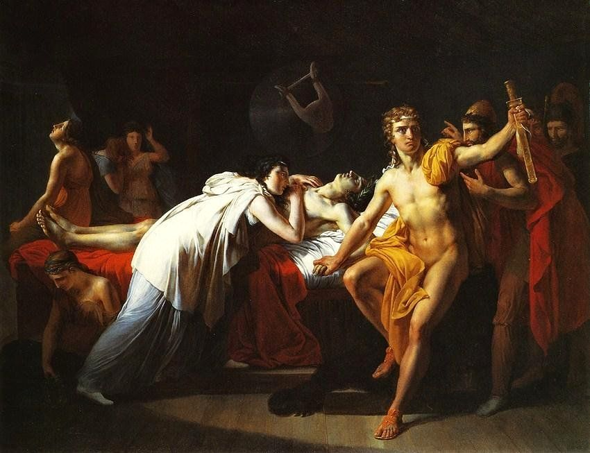 Jean Alaux - Briseis mourns Patroclus in the tent of ...
