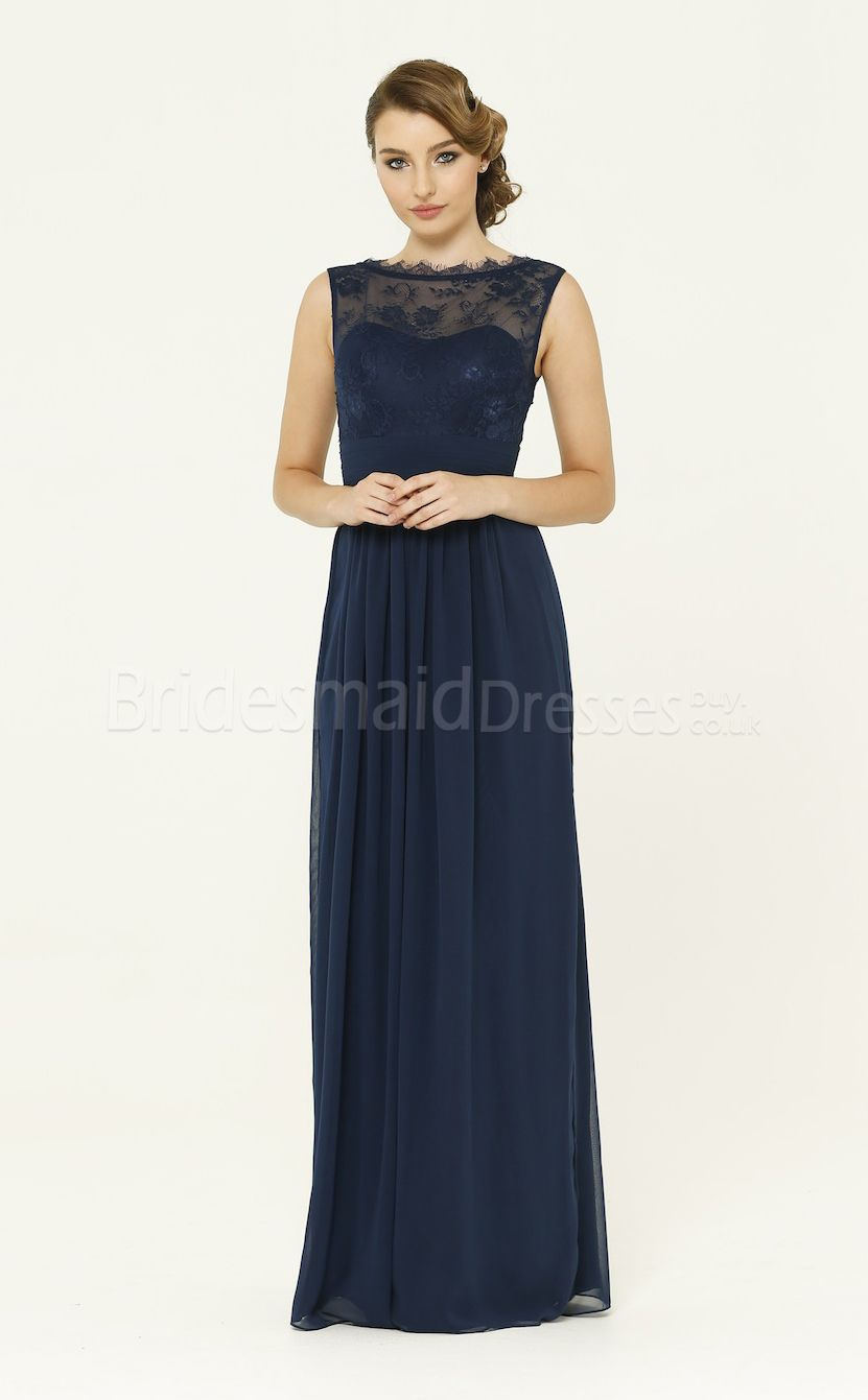 Navy blue aline split front chiffon and lace long bridesmaid