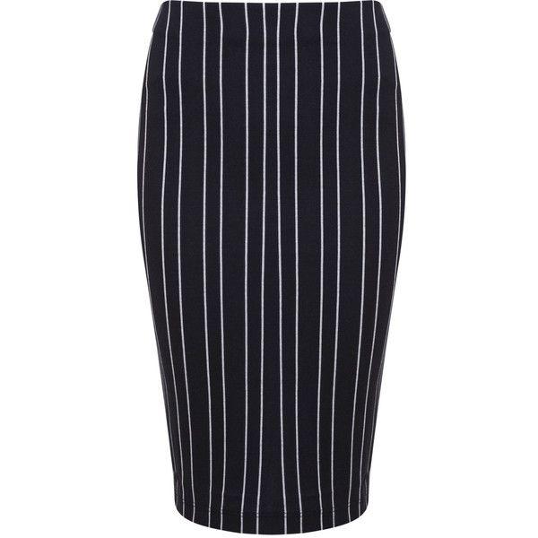 0bbc30a515 Miss Selfridge Blue Pinstripe Pencil Skirt ($9) ❤ liked on Polyvore  featuring skirts, dark blue, mid-calf skirt, calf length skirts, blue  cotton skirt, ...
