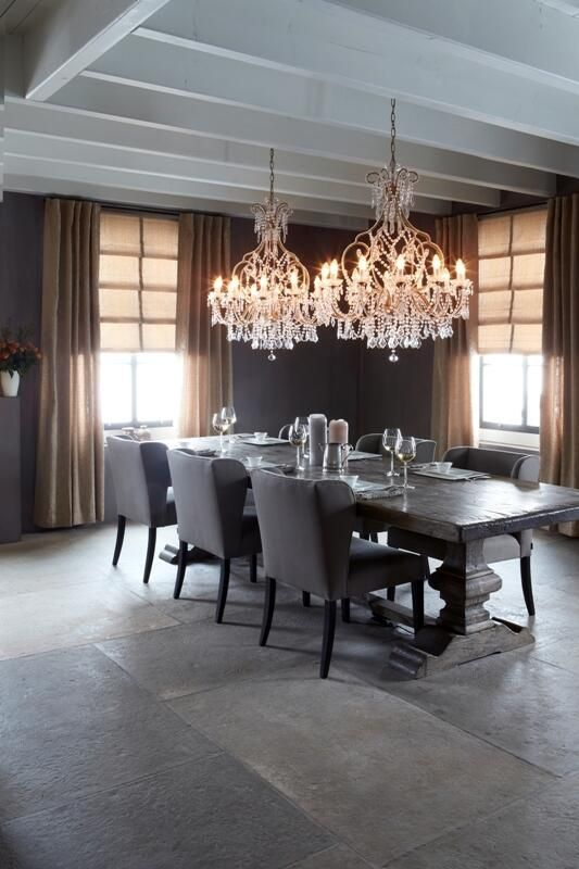 Elegant Translucent Roman Shades In Combination With Back Tab Drapes From The Vadain Id Dining Room Chandelier Dinning Room Light Fixture Dinning Room Lighting