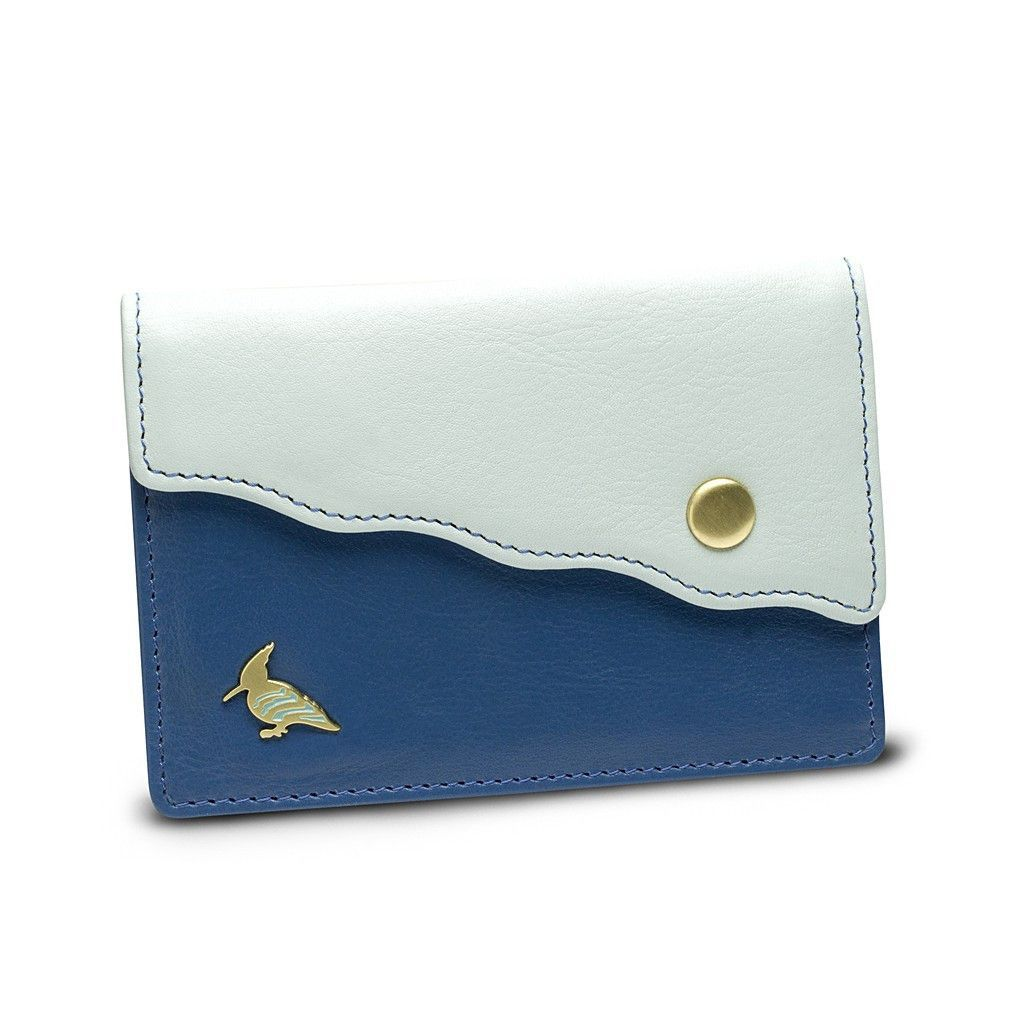 Blue Leather Business Card Holder Wallet - Swan | Products ...