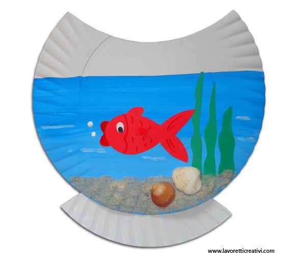 Lavoretto con piatto di carta acquario in estate poisson for Oggetti per acquario