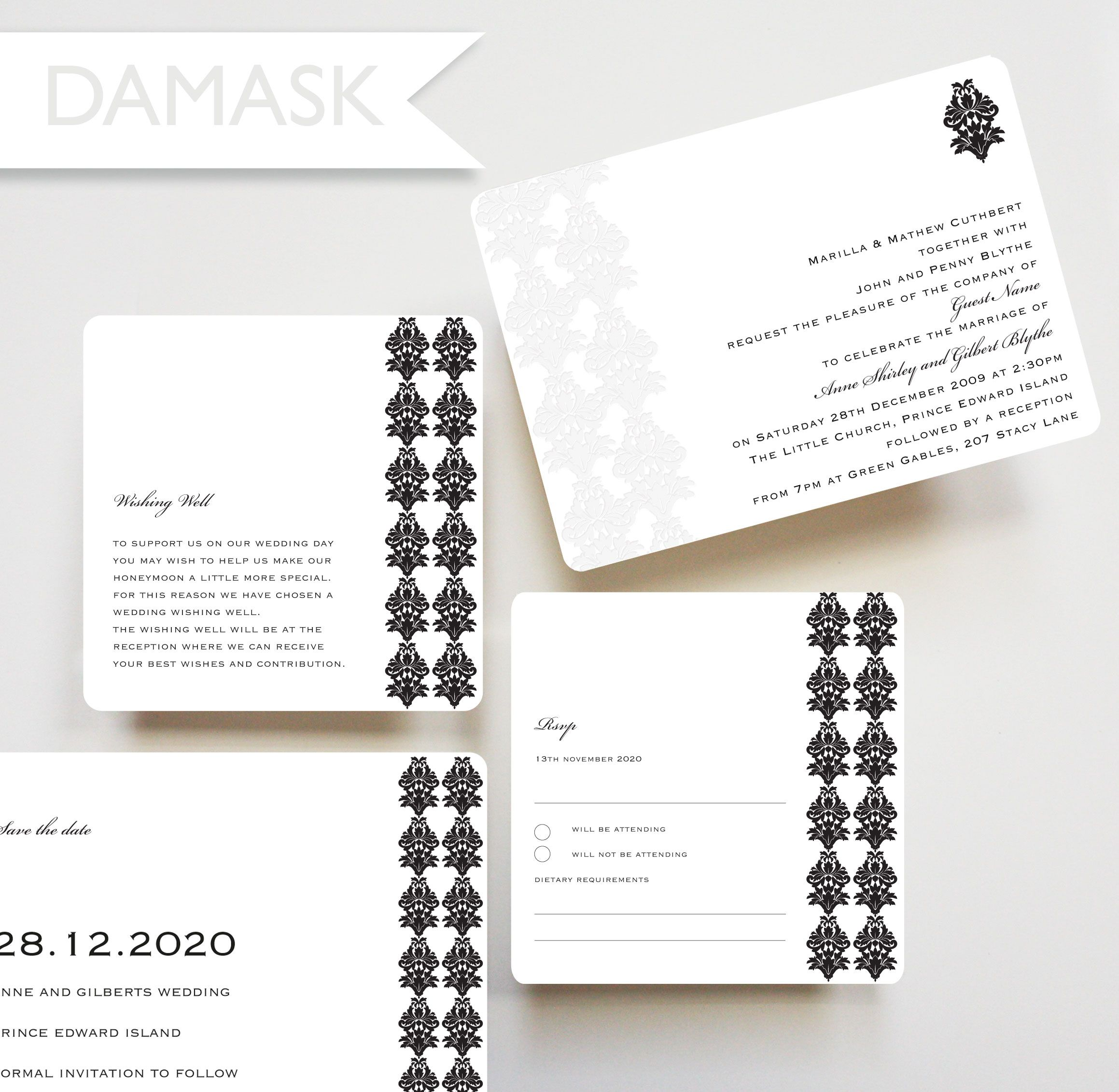 Damask invitation, save the date card, RSVP card, wishing well card ...