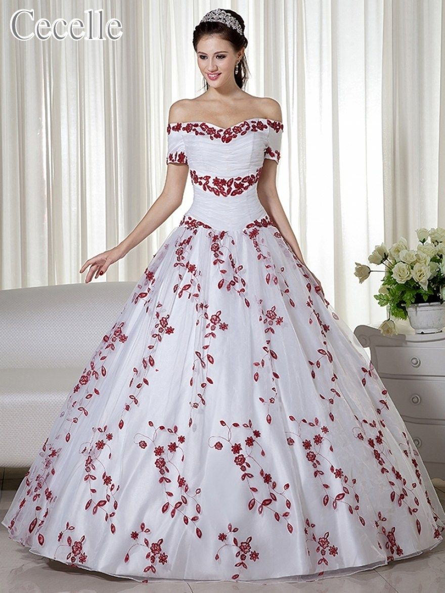 30 Beautiful Red And White Ball Gown Wedding Dress Best Inspiration Red Ball Gowns White Bridal Gown Ball Gown Wedding Dress