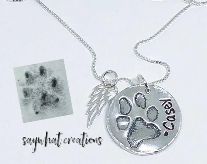 114760072 Custom Paw Print Necklace with your dog or cat's ACTUAL paw print ...
