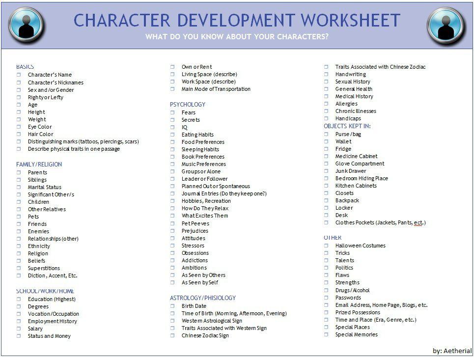 Character Development Worksheet | Writing Inspiration | Pinterest ...