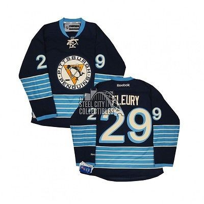 Hockey-NHL 24510  Marc-Andre Fleury Penguins Men S Reebok Navy Blue Premier 7f01352ca