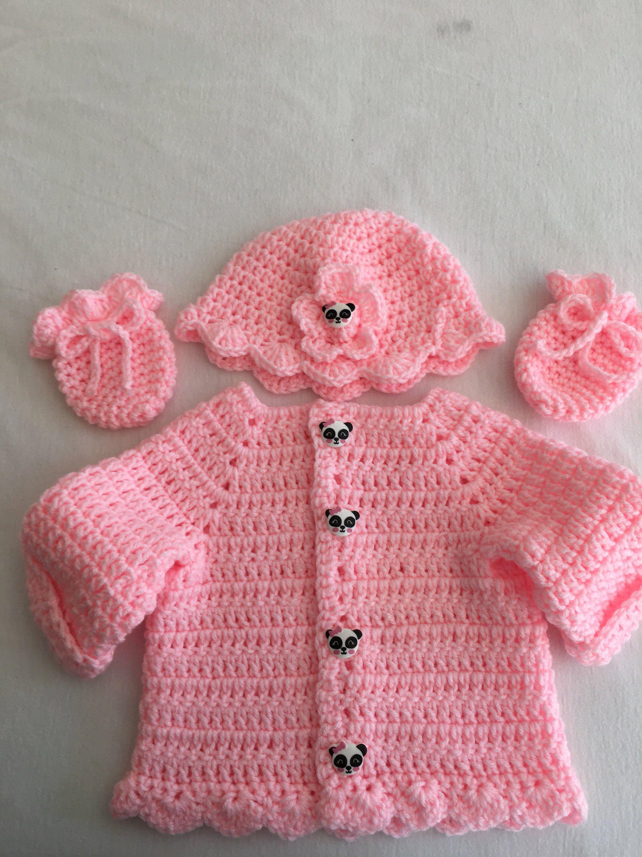 c70650206 Baby girls pink panda sweater set