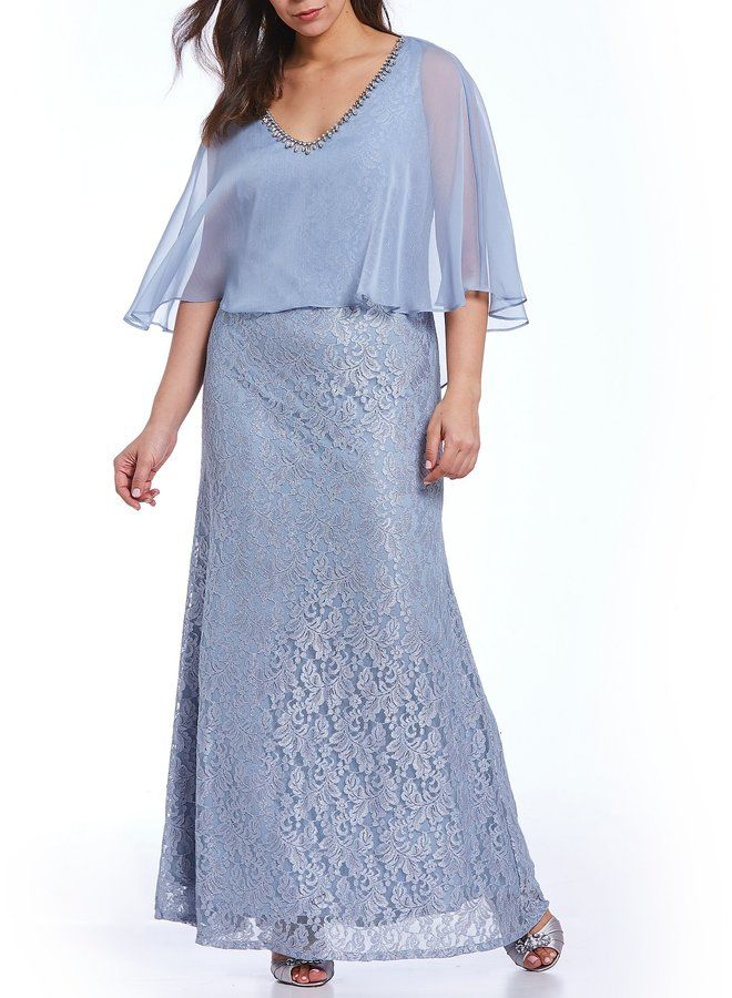 a17911dabe7 Ignite Evenings Plus Glitter Lace Capelet Gown in 2019