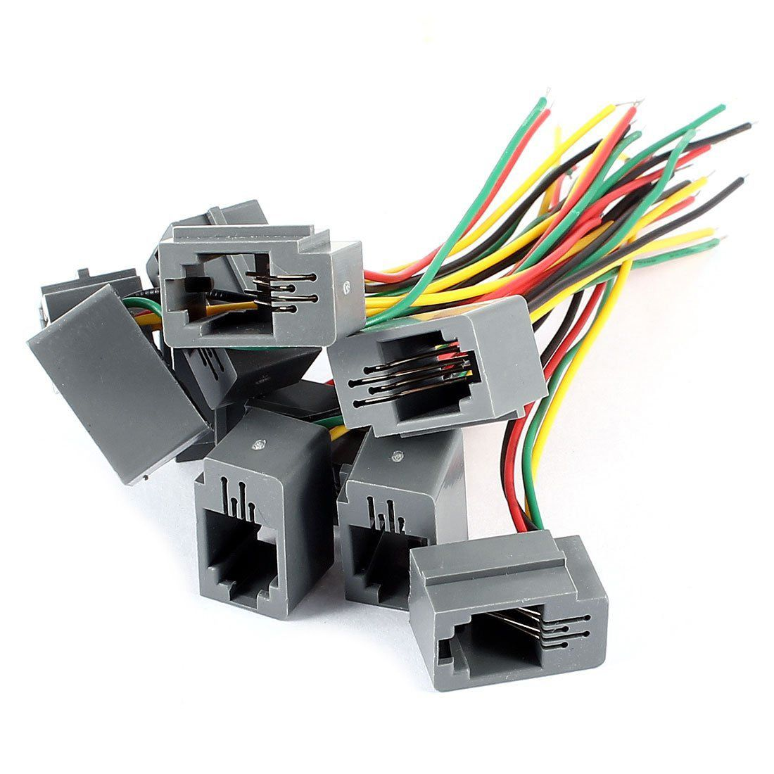 ksol 10 pcs 616e 4p4c rj9 female telephone connector adapter w 4 wires 8cm affiliate [ 1100 x 1100 Pixel ]