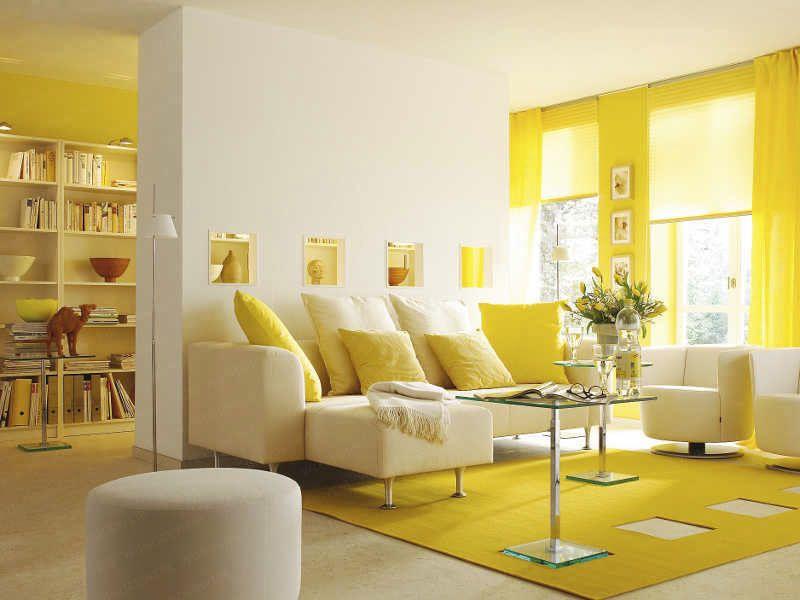 White Yellow Interior Living Room Decor - Design Ideas Picture ...