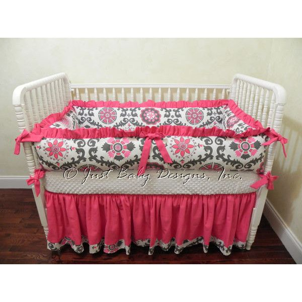 Baby Crib Bedding Set Louisa Girl Baby Bedding Hot Pink and Gray Crib... ($289) ❤ liked on Polyvore featuring home, children's room, children's bedding, baby bedding, bedding, grey and home & living