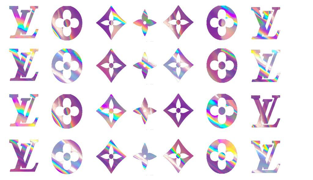 Holographic designer inspired decals lv symbols in 2020