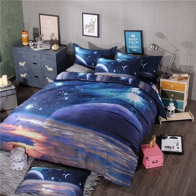 Hot 3d Galaxy Bedding Sets Twin Queen Size Universe Outer Space Themed Bedspread 2