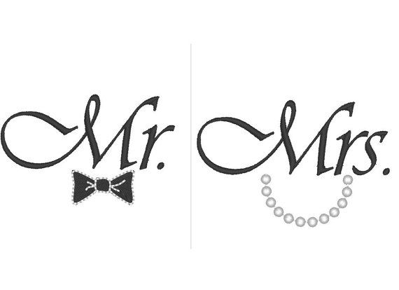 Mr and Mrs   great for wedding gifts   machine embroidery designs