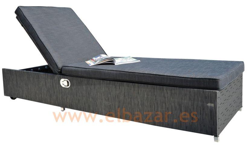 Hamaca/tumbona Grey, fibra sintética y textilene | Muebles exterior ...