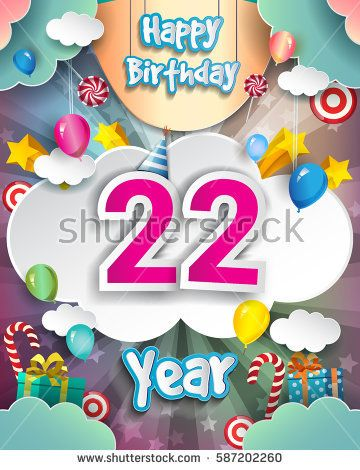 22nd Birthday Celebration Greeting Card Design With Clouds And