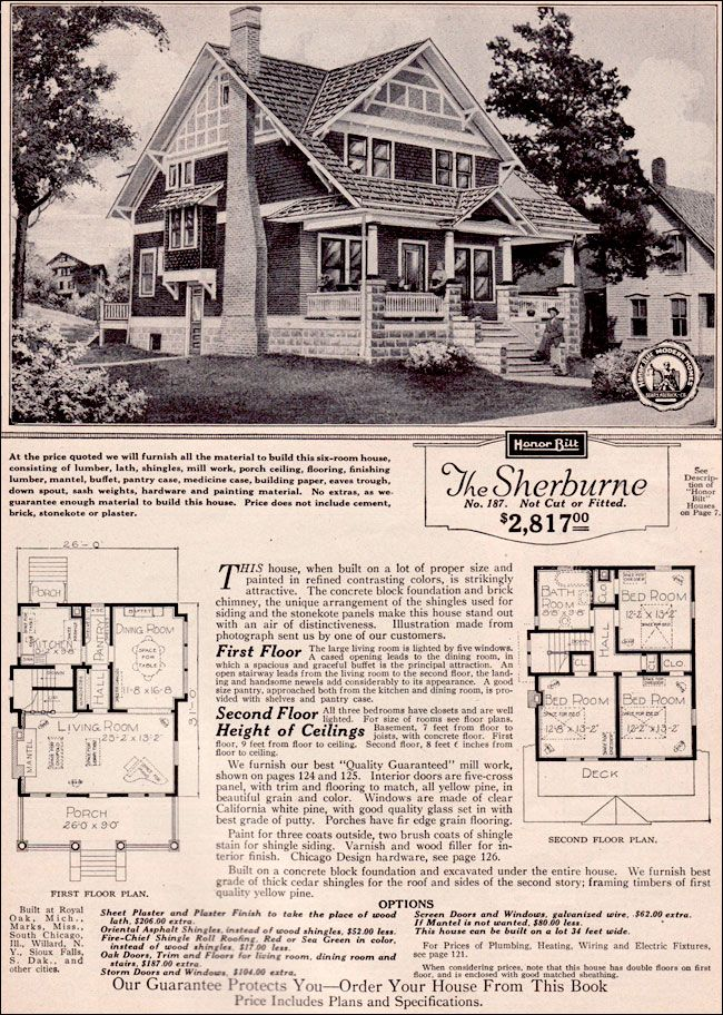 The Sherburne 1923 SEARS ROEBUCK MODERN HOMES Popular for many years, the Sherburne provided a substantial bungalow style home with lots of light, an open floor plan, and design elements common to the Craftsman-style. Three large bedrooms upstairs allowed the average family plenty of private space.