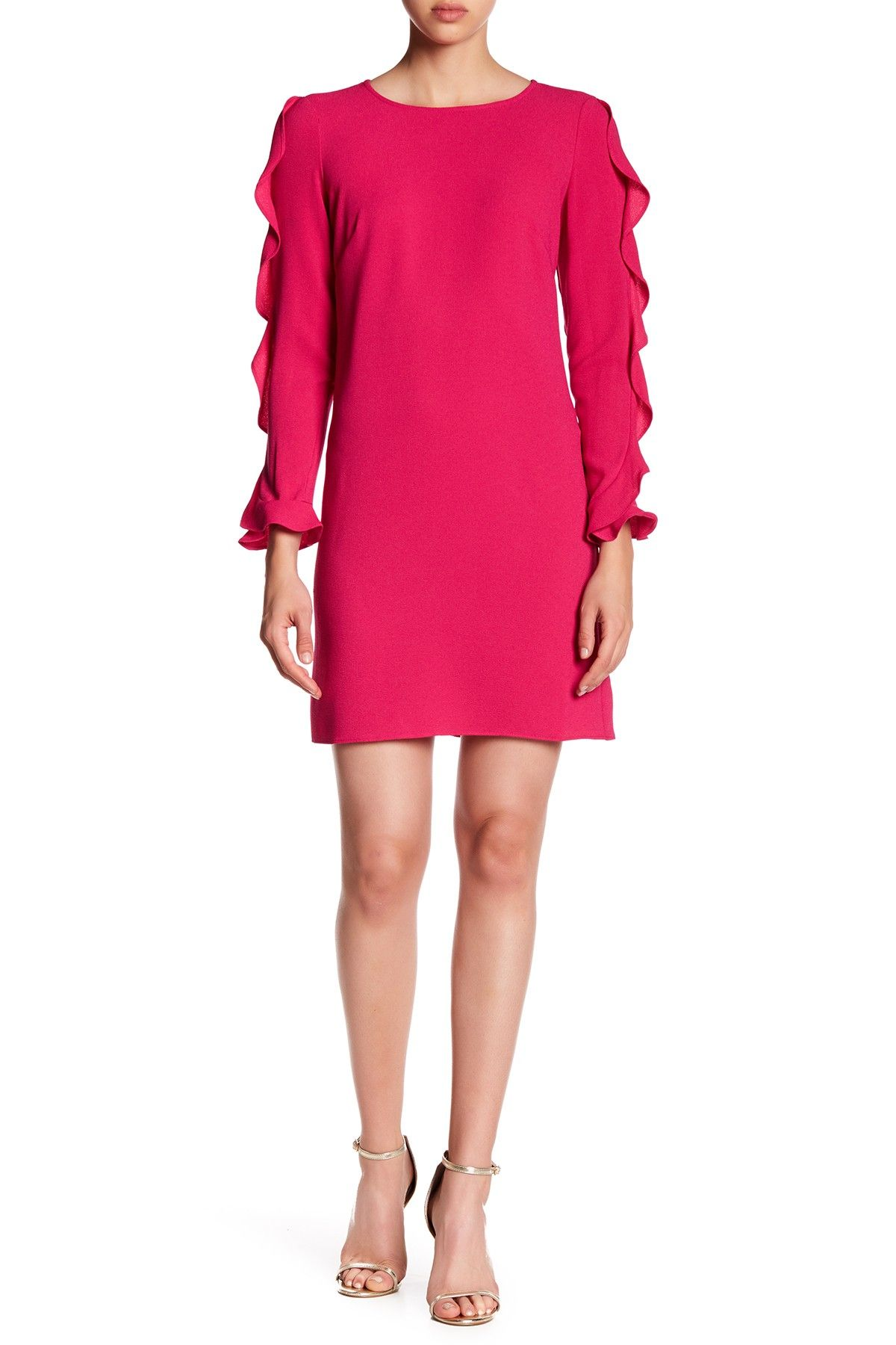 Us crepe ruffle long sleeve shift dress free shipping and products