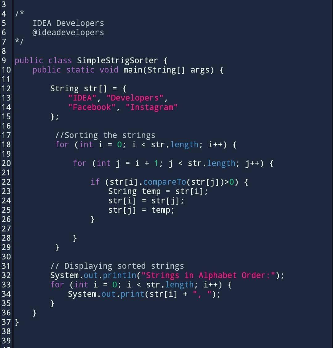 String List in Alphabetical Order Java   follow @ideadevelopers for