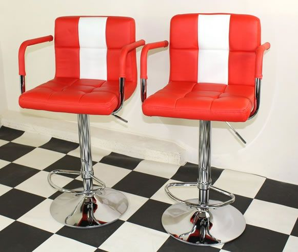 Boston Retro Style Kitchen Breakfast Bar Stool American Diner Red Padded Seat Height Adjule