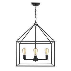 Golden Lighting Wesson 4 Light Black Chandelier 2072 4 Blk The Home Depot In 2020 Golden Lighting Cage Chandelier Rectangle Chandelier