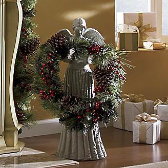 Holly Angel Wreath Holder Wreath Holder Christmas Vignettes Christmas Wreaths
