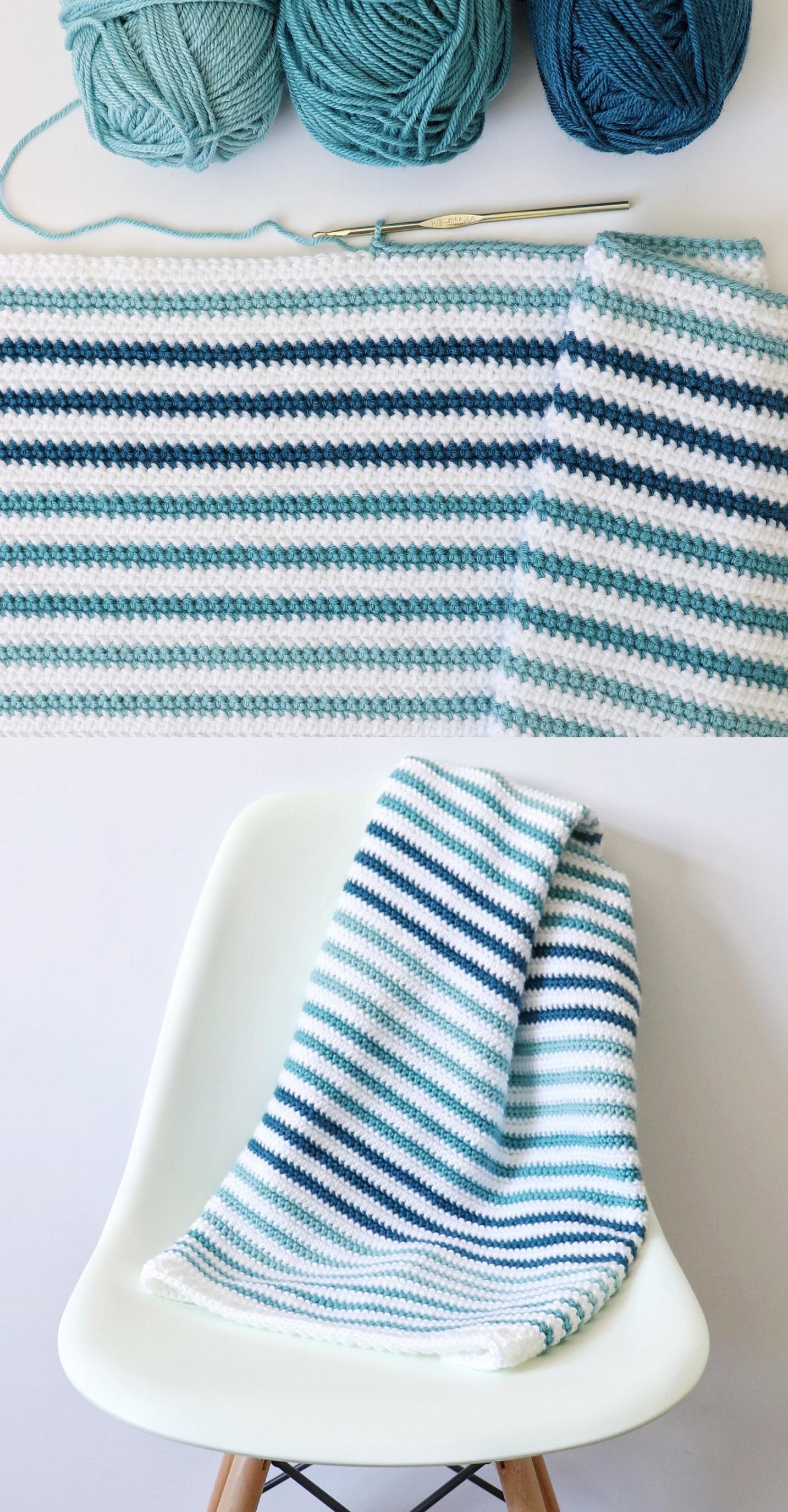 Free Crochet Blanket Pattern – Teal Stripes Baby Blanket – Stricken ist so einfa…,  #Baby #…