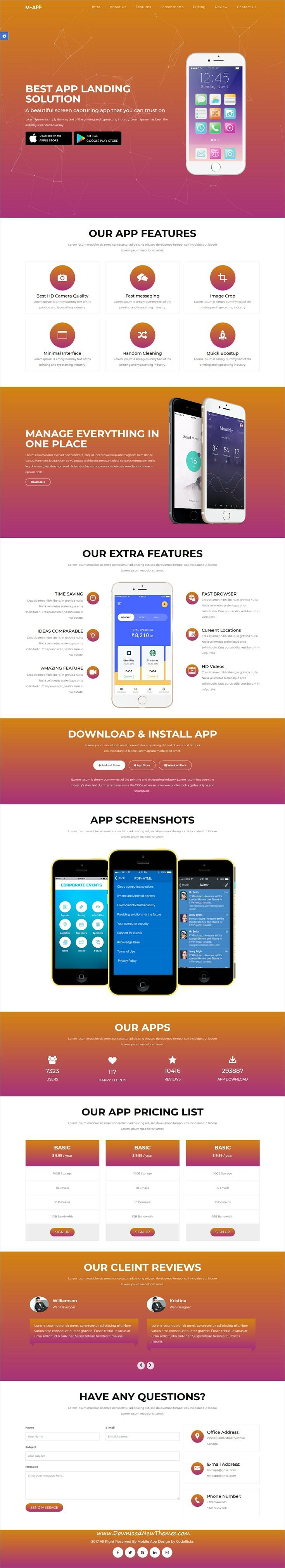 M App Mobile App Showcase Html Template Mobile App Template And App