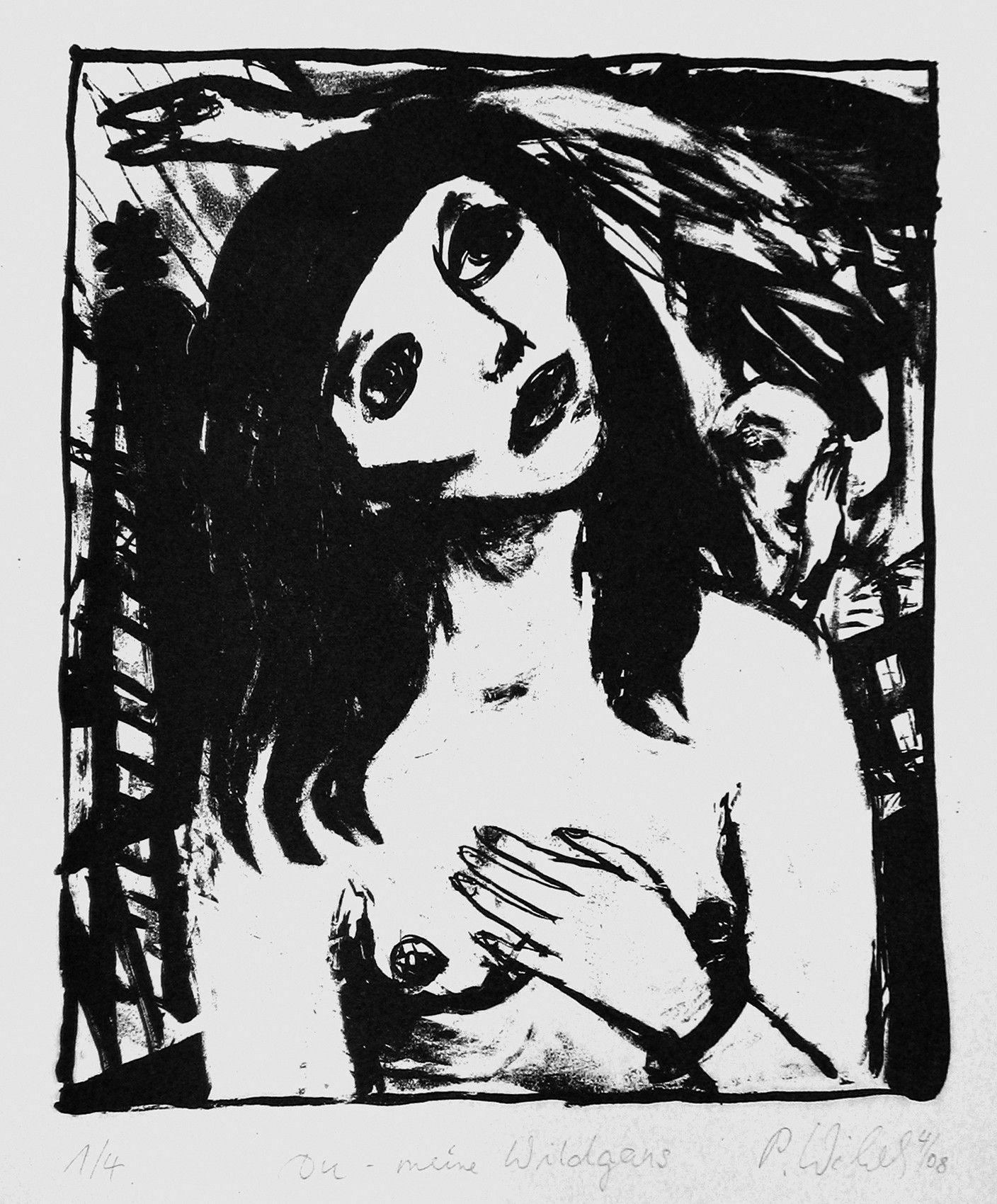 Petra Wildenhahn   Du - meine Wildgans   25 x 21 cm   Lithographie   Papiergröße 42 x 20 cm   2008   Auflage 4   signiert
