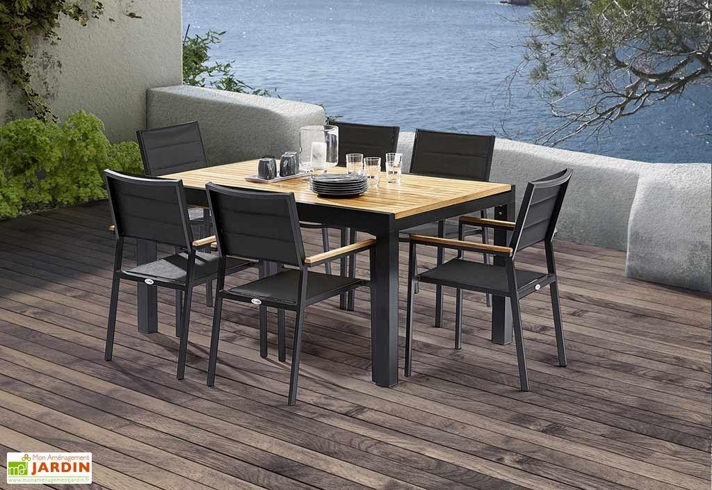 Salon de Jardin Bali Aluminium et Teck : Table Extensible + ...