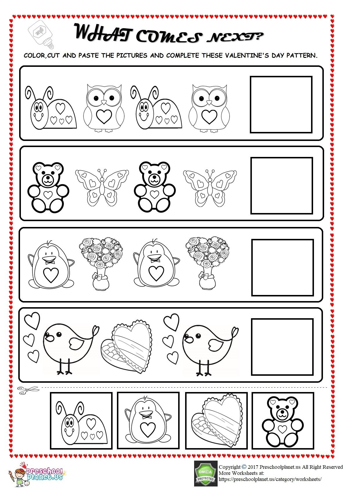 Valentine S Day Pattern Worksheet For Kids In