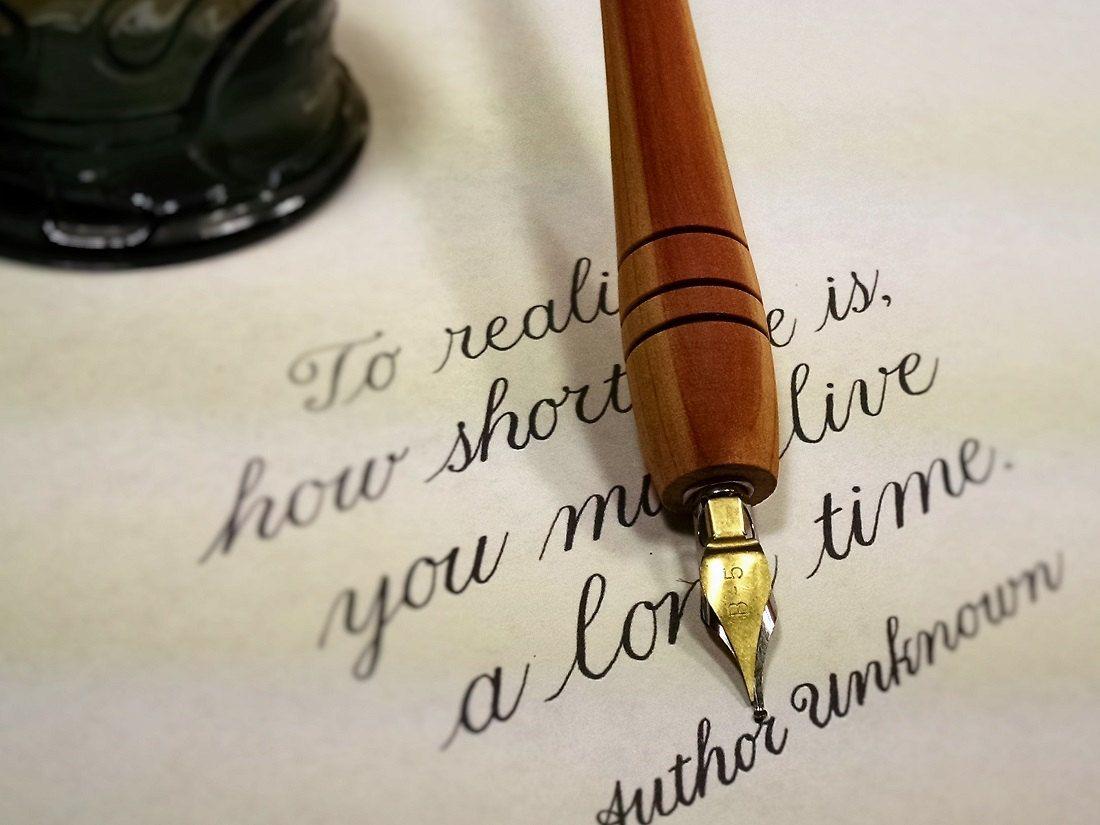 Calligraphy Pen Red Heart Wood Oblique Pen Holder