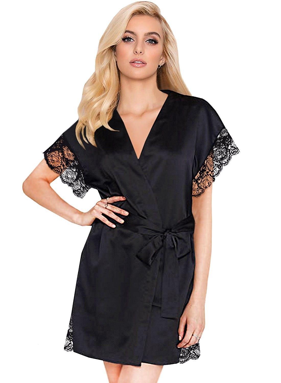 Womens Black Short Sleeve Satin Kimono Robe Lace Trim Bride Robes Bathrobe  Sleepwear - Black - df87af599
