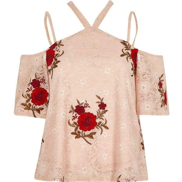 River Island Pink floral embroidered cold shoulder top (124.540 COP) ❤ liked on Polyvore featuring tops, pink cold shoulder top, river island top, cut shoulder tops, halter top and cold shoulder tops