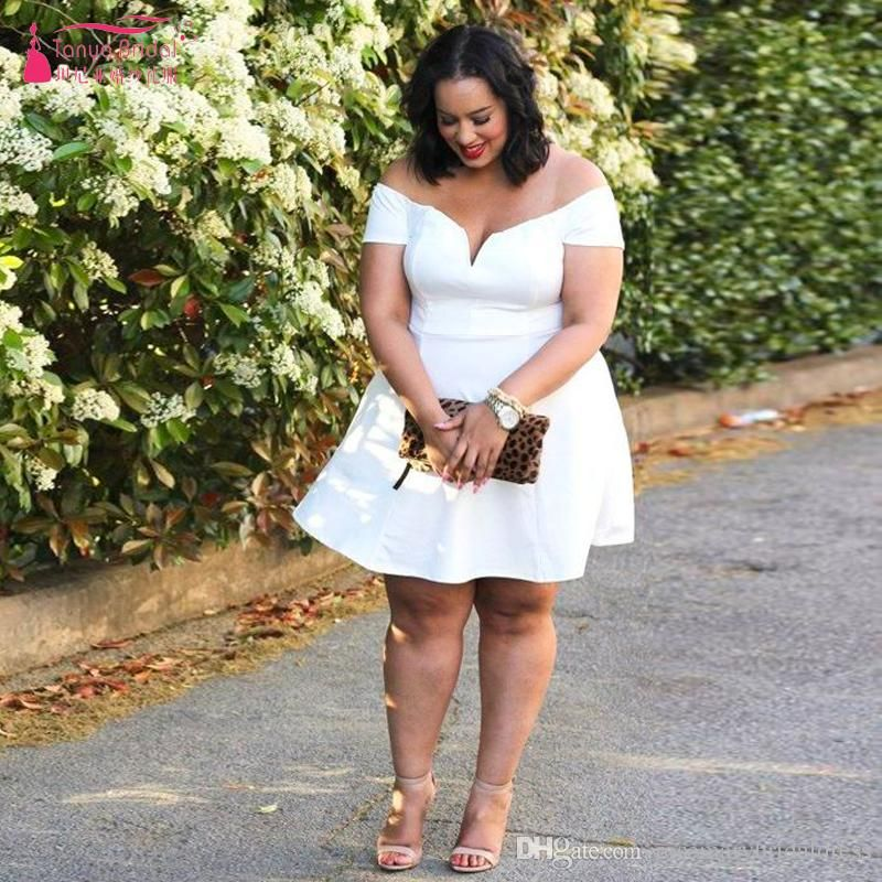 Short White Prom Dress Plus Size Off the shoulder Party ...