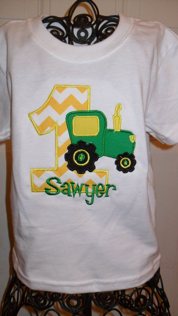 Boutique Tractor Birthday Applique Shirt PERSONALIZED John Deere Farm 1st