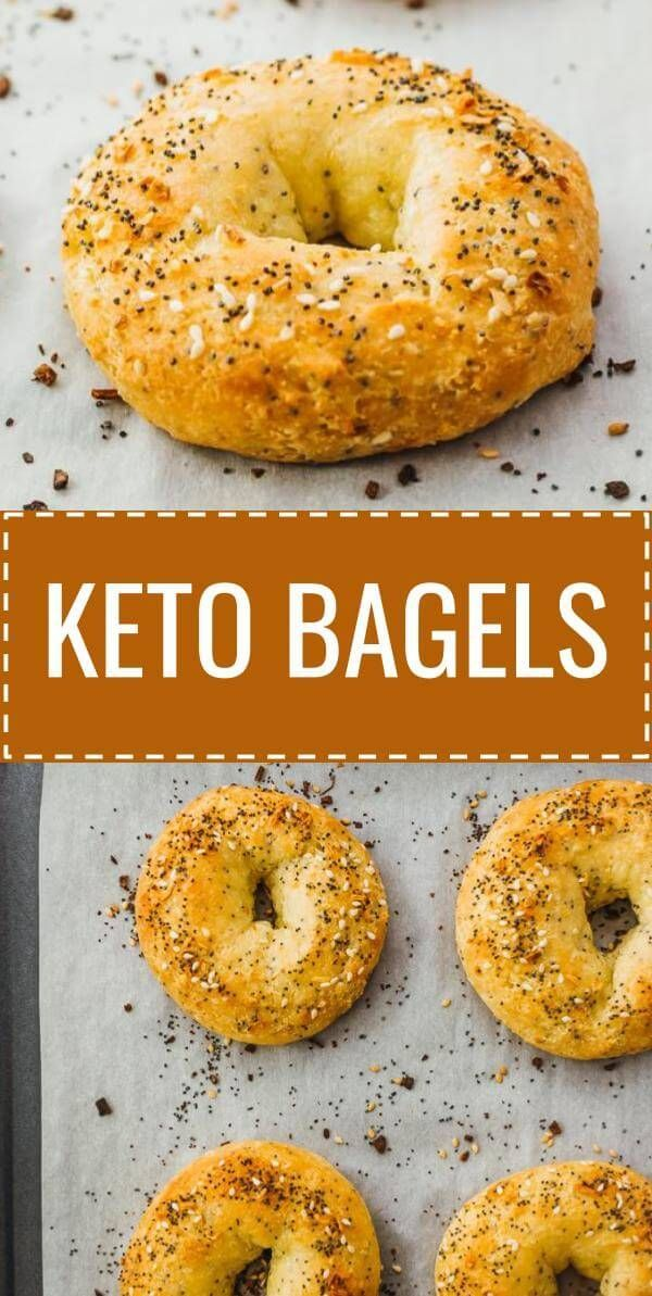 An easy recipe for chewy keto bagels. They're made using almond flour, mozzarella cheese, and cream cheese -- also known as fathead dough, which is a versatile dough for many low carb bread based recipes. These bagels can be enjoyed plain, or you can add toppings like everything bagel seasoning. Click the pin to find the recipe, nutrition facts, cooking tips, & step-by-step photos. #healthy #healthyrecipes #lowcarb #keto #ketorecipes #glutenfree #breakfast #ketobreakfast