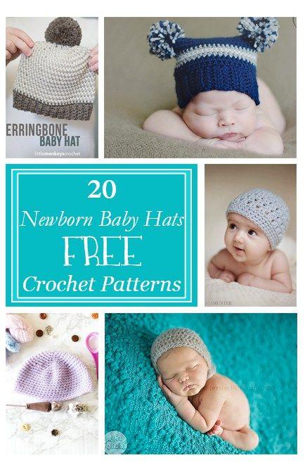 Crochet Baby Hats for Newborns Free Patterns | Gehäkelte mützen ...