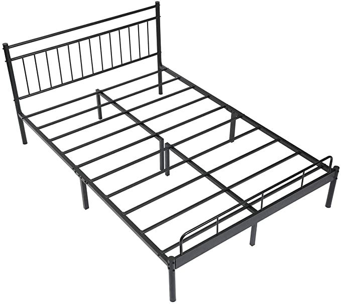 Amazon Com Alecono Metal Bed Frame Queen Size Platform Beds With Lined Shaped Headboard Black Kitchen Dining In 2020