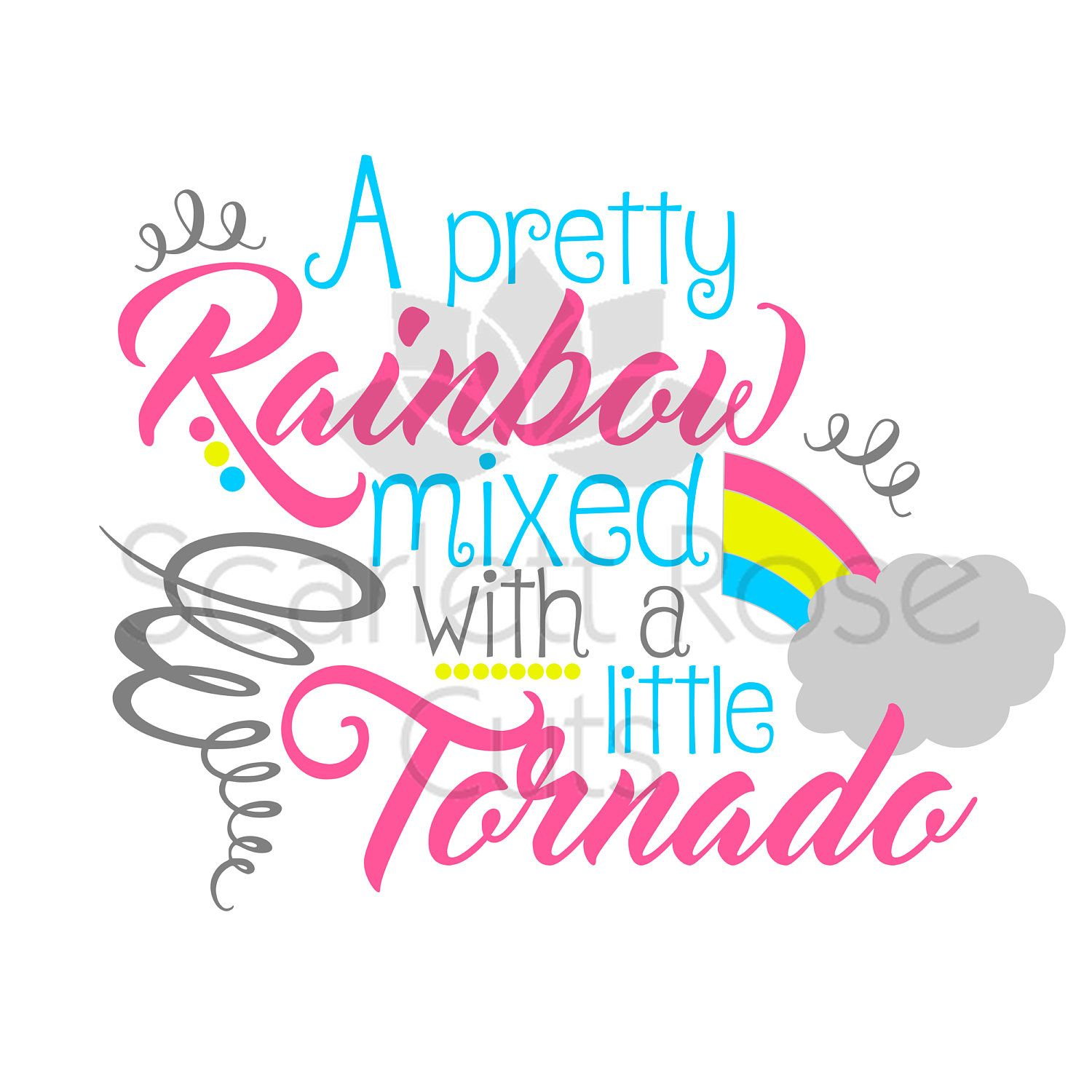 Rainbow Mixed With A Tornado SVG Cut File Summer Spring Girls Shirt Design