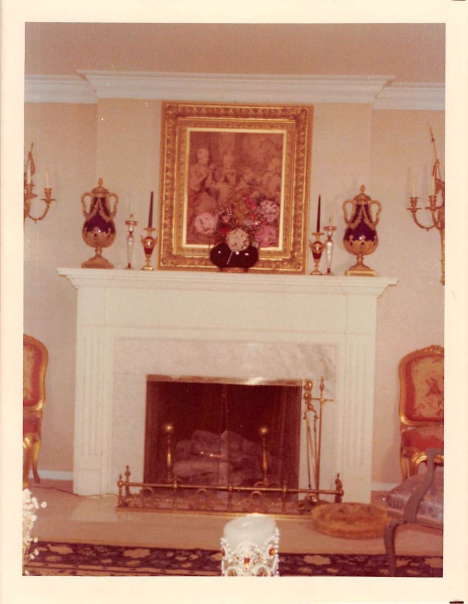 Fancy Fireplace Photograph Snapshot Vintage Color Fancy Fireplace Painting 1960s